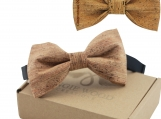 Engraved Large Butterfly Cork Bow Tie - Plain Cork Lines (B0308)