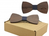 Engraved Large Round Dark Sandalwood Bow Tie-Blue Fabric (B0043)