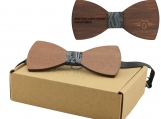 Engraved Large Round Red Sandalwood Bow Tie (B0004)