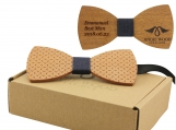 Engraved Large Round Wooden Bow Tie  (B0062)