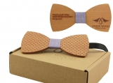 Engraved Large Round Wooden Bow Tie with Etched Design (B0065)