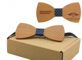 Engraved Large Round Wooden Bow Tie with Etched Design (B0068)