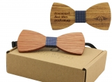 Engraved Large Round Zebrawood Bow Tie- Adult Size (B0025)