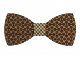 Engraved Large Round Zebrawood Bow Tie  (B0053)