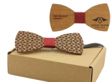 Engraved Large Round Zebrawood Bow Tie  (B0056)