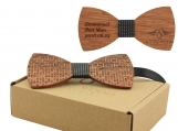 Engraved Large Round Zebrawood Bow Tie (B0101)