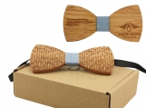 Engraved Large Round Zebrawood Bow Tie - Blue (B0104)