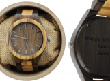 Engraved Light and Dark Olive Wood Men's Watch (W012)
