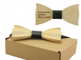 Engraved Maple Butterfly Bow Tie With Black Faux Leather (B1301)