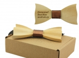 Engraved Maple Butterfly BowTie With Metallic Faux Leather(B1302