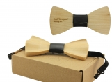 Engraved Maple Solid Rounded Butterfly Bow Tie  (B1402)