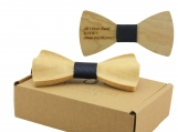 Engraved Maple Solid Rounded Butterfly Bow Tie (B1403)