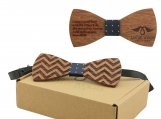 Engraved Medium Round Men's Wooden Bow Tie (B1511)