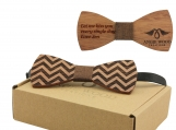 Engraved Medium Round Men's Wooden Bow Tie - Brown Denim (B1510)