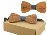 Engraved Red Sandalwood Bow Tie with Aztec Pattern (B0077)