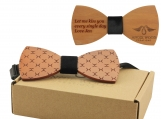 Engraved Red Sandalwood Bow Tie with Stylish Engraving (B0083)