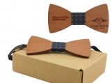 Engraved Red Sandalwood Butterfly Bowtie- Spot Centre (B0204)