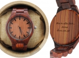 Engraved Red Sandalwood Men's Watch (W003)