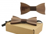Engraved Solid Pointed Butterfly BowTie with Brown Cotton (B1303