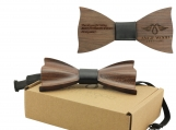 Engraved Solid Pointed Butterfly Wooden Bow Tie