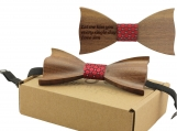 Engraved Solid Pointed Butterfly Wooden Bow Tie (B1306)