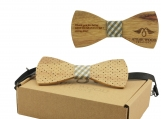 Engraved Spotted Olive Wood Wooden Bow Tie  (B1501)