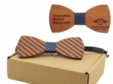 Engraved Striped Red Sandalwood Bow Tie-Blue Woven Center(B0119)