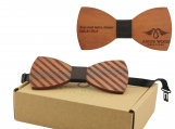 Engraved Striped Red Sandalwood Bow Tie - Brown Denim (B0116)