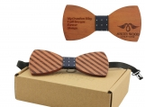 Engraved Striped Red Sandalwood Bow Tie - Dotted Blue (B0113)