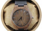 Engraved Walnut Men's Watch with Black Leather Strap (W009)