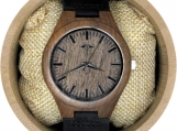 Engraved Walnut Men's Watch With Black Leather Strap (W096)