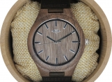 Engraved Walnut Wood Men's Watch With Brown Leather Strap (W101)