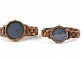 Engraved Zebra Wood Couple's Watch (Grey-W091)