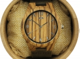 Engraved Zebrawood Men's Watch With Black Leather Band (W141)