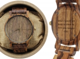 Engraved Zebrawood Men's Watch with Gold Hands (W008)