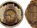 Engraved Zebrawood Men's Watch with Maple Dial (W011)