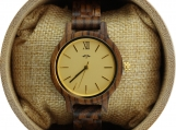 Engraved Zebrawood Women's Watch With Gold Dial (W045)
