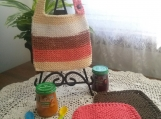 """Fall Harvest"" Hand Knit Bib and Washcloth Set"