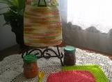 """Flavors of Sherbet"" Hand Knit Bib and Washcloth Set"