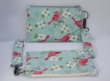 Floral bird wristlet clutch purse with detachable wrist strap