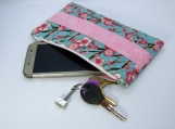Floral clutch purse with divider pocket and card holders