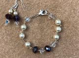 Handcrafted Crystal And Pearl Bracelet And Earrings