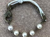 Handcrafted Swarovski Pearls And Leather Bracelet