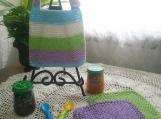 """Happy Easter"" Hand Knit Bib and Washcloth Set"