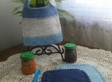 """Little Boy Blue"" Hand Knit Bib and Washcloth Set"
