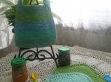 """Ocean Breeze"" Hand Knit Bib and Washcloth Set"