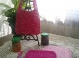 """Pretty in Pink"" Hand Knit Bib and Washcloth Set"