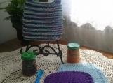 """Seashore Blue"" Hand Knit Bib and Washcloth Set"