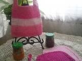 """""""Shades of Pink"""" Hand Knit Bib and Washcloth Set"""
