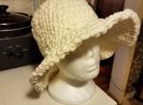 White crochet brimmed hat